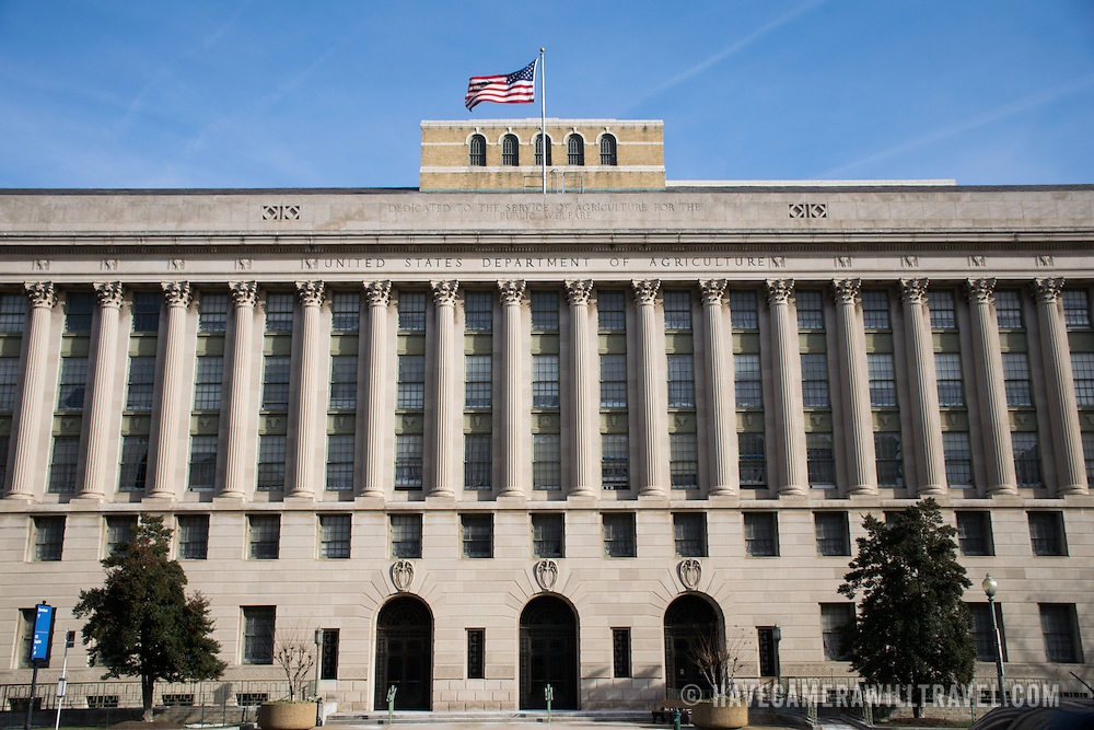 Exterior of the Department of Agriculture Building on the southern side of the National Mall in Washington DC.