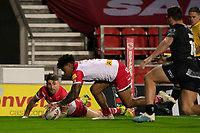 Rugby League - 2020 Betfair Super League - Semi-final - St Helens vs Catalan Dragons - TW Stadium<br /> <br /> St. Helens's Kevin Naiqama scores a try<br /> <br /> COLORSPORT/TERRY DONNELLY