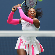 2016 U.S. Open - Day 6  Serena Williams of the United States in action against Johanna Larsson of Sweden in the Women's Singles round three match on Arthur Ashe Stadium on day six of the 2016 US Open Tennis Tournament at the USTA Billie Jean King National Tennis Center on September 3, 2016 in Flushing, Queens, New York City.  (Photo by Tim Clayton/Corbis via Getty Images)