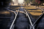 The railway track running through Debre Zeit, Ethiopia. The rail line originally built by the French in 1897 over 20 years, is the only route from Addis Ababa and the sea at Djibouti.