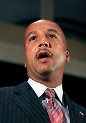 April 22nd, 2006. New Orleans, Louisiana. Voting day. Mayor Ray Nagin speaks to supporters after securing a run off with opponent Mitch Landrieu. <br /> Photo; Charlie Varley/varleypix.com