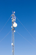 microwave data link backhaul parabolic dish antenna on tower in Mackay, Queensland, Australia <br /> <br /> Editions:- Open Edition Print / Stock Image