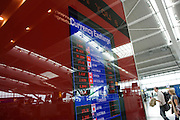 Money retailer Travelex foreign currency rates displayed at Heathrow's Terminal 5.