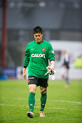 Dundee United's Eiji Kawashima at the end. <br /> Dundee 2 v 1  Dundee United, SPFL Ladbrokes Premiership game played 2/1/2016 at Dens Park.