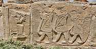 Pictures & Images Hittite relief sculpted orthostat panels of the Sphinx Gate. Panel depicts a procession making offerings to a lion god. Alaca Hoyuk (Alacahoyuk) Hittite archaeological site  Alaca, Çorum Province, Turkey, Also known as Alacahüyük, Aladja-Hoyuk, Euyuk, or Evuk .<br /> <br /> If you prefer to buy from our ALAMY PHOTO LIBRARY  Collection visit : https://www.alamy.com/portfolio/paul-williams-funkystock/alaca-hoyuk-hittite-site.html<br /> <br /> Visit our TURKEY PHOTO COLLECTIONS for more photos to download or buy as wall art prints https://funkystock.photoshelter.com/gallery-collection/3f-Pictures-of-Turkey-Turkey-Photos-Images-Fotos/C0000U.hJWkZxAbg