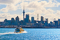 Looking across the Hauraki Gulf to the skyline of Auckland, New Zealand