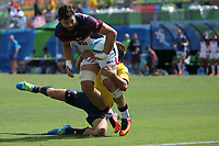 August 11, 2016; Rio de Janeiro, Brazil; USA Men's Eagles Sevens Danny Barrett is caught by the Spanish defense during the Men's Rugby Sevens 9th Place Final match on Day 4 of the Rio 2016 Olympic Games at Deodoro Stadium. Photo credit: Abel Barrientes - KLC fotos