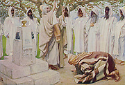"""THE OFFERINGS OF MELCHIZEDEK. Genesis. xiv. 18. """"And Melchizedek king of Salem brought forth bread : and wine: and he was the priest of the most high God."""" From the book ' The Old Testament : three hundred and ninety-six compositions illustrating the Old Testament ' Part I by J. James Tissot Published by M. de Brunoff in Paris, London and New York in 1904"""