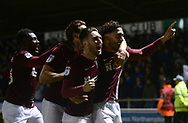 Matt Crooks of Northampton Town ® celebrates with teammates after he scores his teams 2nd goal to put his side 2-0 up. EFL Skybet Football League one match, Northampton Town v Portsmouth at the Sixfields Stadium in Northampton on Tuesday 12th September 2017. <br /> pic by Bradley Collyer, Andrew Orchard sports photography.