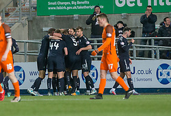 Falkirk's Lewis Kidd cele scored their sixth goal. Falkirk 6 v 1 Dundee United, Scottish Championship game played 6/1/2018 played at The Falkirk Stadium.