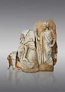 Roman Sebasteion relief  sculpture of Apollo and a Muse Aphrodisias Museum, Aphrodisias, Turkey. <br /> <br /> On the left stood Apollo, one foot raised on a rock, playing his lyre which rests on top of the omphalos (the earth's navel stone, tied down at Delphi(. On the right stands a muse holding one arm of Apollos lyre. .<br /> <br /> If you prefer to buy from our ALAMY STOCK LIBRARY page at https://www.alamy.com/portfolio/paul-williams-funkystock/greco-roman-sculptures.html . Type -    Aphrodisias     - into LOWER SEARCH WITHIN GALLERY box - Refine search by adding a subject, place, background colour, museum etc.<br /> <br /> Visit our ROMAN WORLD PHOTO COLLECTIONS for more photos to download or buy as wall art prints https://funkystock.photoshelter.com/gallery-collection/The-Romans-Art-Artefacts-Antiquities-Historic-Sites-Pictures-Images/C0000r2uLJJo9_s0