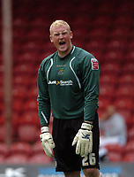 Photo: Tony Oudot.<br /> Brentford v Stockport County. Coca Cola League 2. 29/09/2007.<br /> Goalkeeper Conrad Logan of Stockport celebrates his sides victory