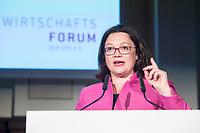 07 JUN 2018, BERLIN/GERMANY:<br /> Andrea Nahles, SPD, Fraktions- und Parteivorsitzende, haelt eine Rede auf dem Parlamentarischen Abend des SPD WIrtschaftsforums, Meistersaal<br /> IMAGE: 20180607-01-177