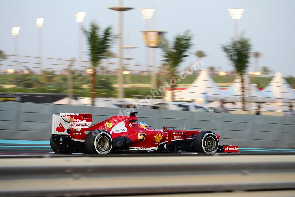 Fernando Alonso (Ferrari) during practice for the 2013 Abu Dhabi Grand Prix at the Yas Marina Circuit. Photo: Grand Prix Photo