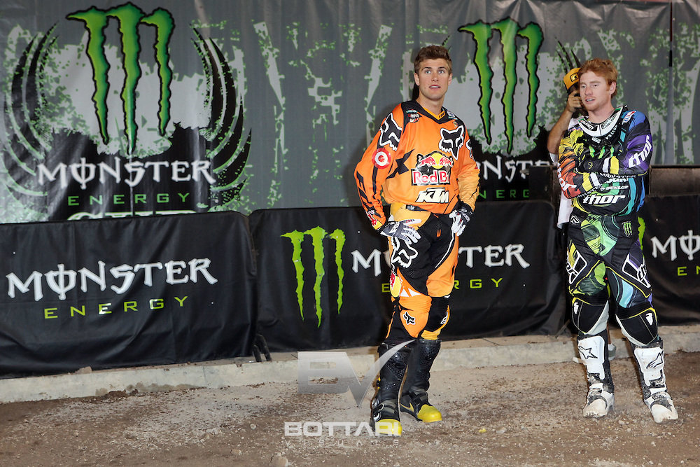 LAS VEGAS, NV - OCTOBER 15:  (L-R) Ryan Dungey, rider of the #5 Red Bull KTM 450, and Ryan Villopoto, rider of the #2 Monster Energy Kawasaki 450, talk prior to the start of the inaugural Monster Energy Cup on October 15, 2011 in Las Vegas, Nevada.  (Photo by Jeff Bottari/Getty Images)