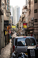 Hong Kong - August 23, 2019: View down Staunton Street in the Central district of Hong Kong Island