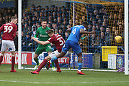 AFC Wimbledon defender Deji Oshilaja (4) scoring goal to make it 1-1 during the EFL Sky Bet League 1 match between AFC Wimbledon and Northampton Town at the Cherry Red Records Stadium, Kingston, England on 10 February 2018. Picture by Matthew Redman.