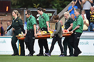 Oxford United midfielder Cameron Brannagan (8) leaves the field on a stretcher during the EFL Sky Bet League 1 match between Wycombe Wanderers and Oxford United at Adams Park, High Wycombe, England on 15 September 2018.