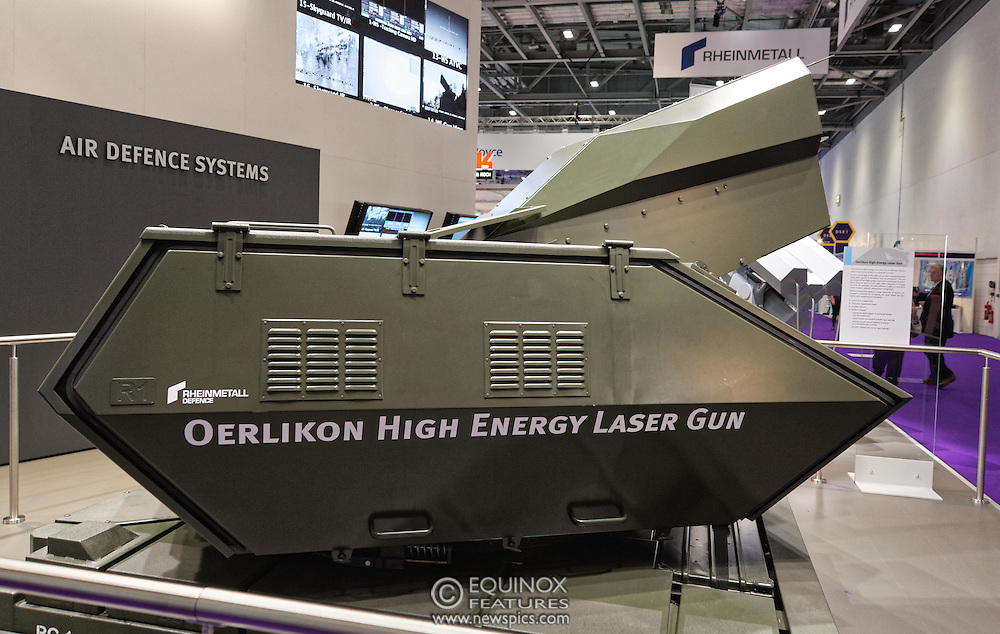 London, United Kingdom - 18 September 2015<br /> Rheinmetall air defence systems Oerlikon High Energy Laser Gun on display at the defence and security exhibition DSEI at ExCeL, Woolwich, London, England, UK.<br /> (photo by: EQUINOXFEATURES.COM)<br /> <br /> Picture Data:<br /> Photographer: Equinox Features<br /> Copyright: ©2015 Equinox Licensing Ltd. +448700 780000<br /> Contact: Equinox Features<br /> Date Taken: 20150918<br /> Time Taken: 13450824<br /> www.newspics.com