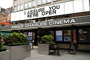 I assure you, were open sign outside the Prince Charles Cinema just off Leicester Square on 25th May 2021 in London, United Kingdom. As the coronavirus lockdown continues its process of easing restrictions, more and more people are coming to the West End as more businesses open.