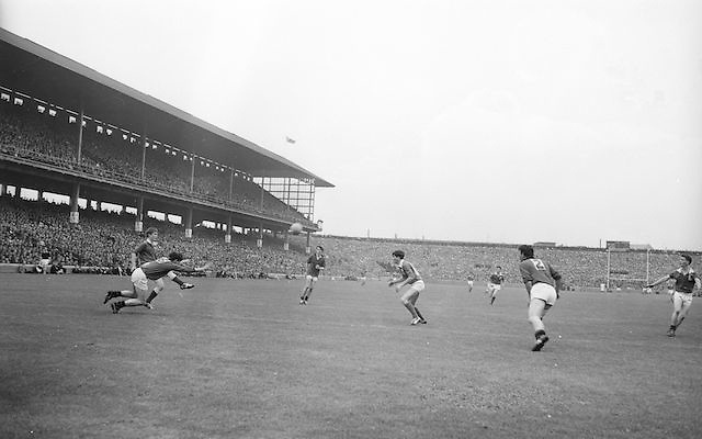 Ball in mid air surrounded by players during the All Ireland Minor Gaelic Football Final Mayo v. Down in Croke Park on the 25th September 1966.