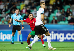 LJUBLJANA, SLOVENIA - JUNE 06: Tiago Tomas of Portugal and Nico Schlotterbeck of Germany during the 2021 UEFA European Under-21 Championship Final match between Germany and Portugal at Stadion Stozice on June 06, 2021 in Ljubljana, Slovenia. Photo by Grega Valancic / Sportida