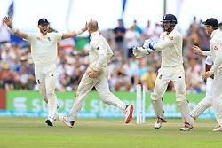 November 9, 2018 - Galle, Sri Lanka - England cricketer Jack Leach celebrates after taking a wicket during the 4th day's play of the first test cricket match between Sri Lanka and England at Galle International cricket stadium, Galle, Sri Lanka. 11-09-2018  (Credit Image: © Tharaka Basnayaka/NurPhoto via ZUMA Press)