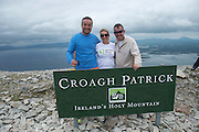 22/06/2014 Ray Jordan SHA, Declan and Sinead Cunningham from Co Clare who climbed the  765 metre Croagh Patrick in Mayo as part of the 30th Anniversary Celebrations of  Self Help Africa and to support the work of Self Help Africa in 10 countries in Africa. Photo: Andrew Downes