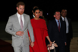 The Duke and Duchess of Sussex are welcomed by British Ambassador to Morocco Thomas Reilly on their arrival at Casablanca airport, for their tour of Morocco.