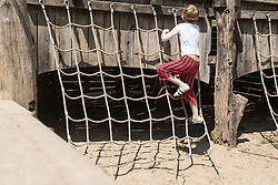 Rear view of a boy climbing on rope in adventure playground, Bavaria, Germany