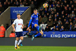 28th November 2017 - Premier League - Leicester City v Tottenham Hotspur - Jamie Vardy of Leicester scores their 1st goal - Photo: Simon Stacpoole / Offside.