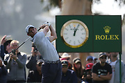 Rory Mcllroy plays his shot from the ninth tee during the Genesis Invitational third round at Riviera Country Club, Saturday, Feb. 15, 2020, in the Pacific Palisades area of Los Angeles.