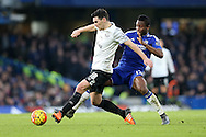 Mikel John Obi of Chelsea challenges Gareth Barry of Everton. Barclays Premier league match, Chelsea v Everton at Stamford Bridge in London on Saturday 16th January 2016.<br /> pic by John Patrick Fletcher, Andrew Orchard sports photography.