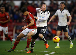 Eric Lichaj of Nottingham Forest (L) and Ross McCormack of Fulham in action - Mandatory byline: Jack Phillips / JMP - 07966386802 - 5/12/2015 - FOOTBALL - The City Ground - Nottingham, Nottinghamshire - Nottingham Forest v Fulham - Sky Bet Championship