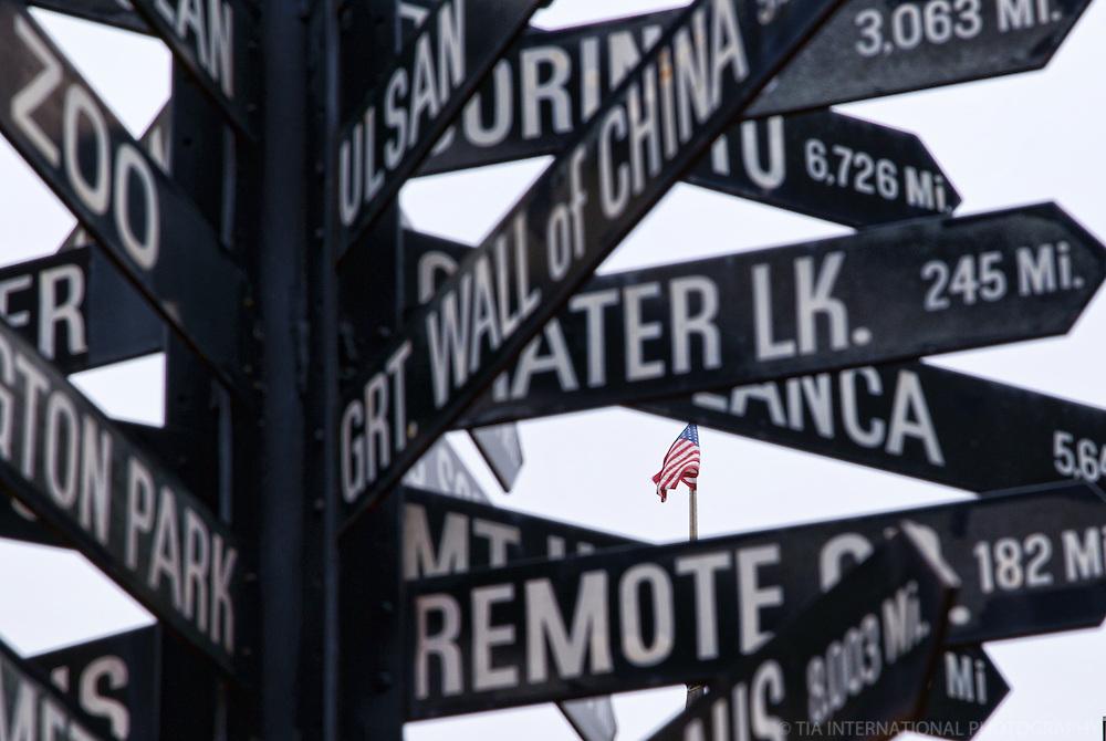 Mileage Sign @ Courthouse Square, Portland
