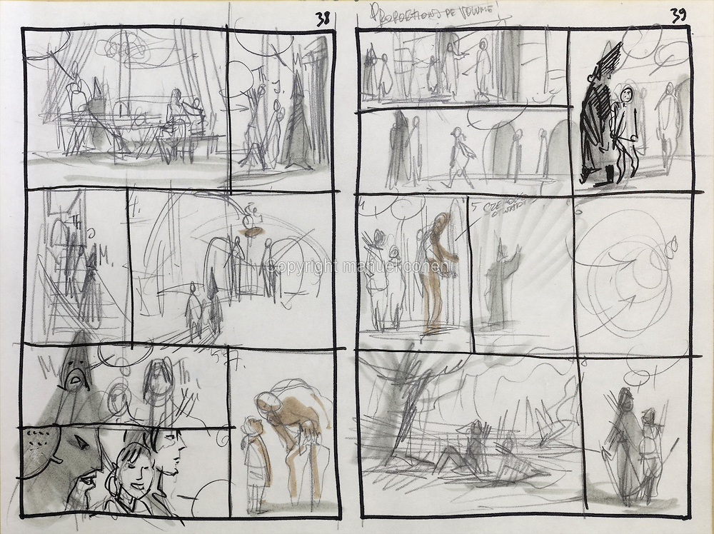 Storyboard sketch in Manthor's palace of pages 38 and 39 of Series 29 Le Sacrifice, 2006, of the Thorgal comic book series, illlustrated by Grzegorz Rosinski, 1941-, Polish comic book artist. This is the first series involving paintings by the artist. Rosinski was born in Stalowa Wola, Poland, and now lives in Switzerland, and is the author and designer of many Polish comic book series. He created Thorgal with Belgian writer Jean Van Hamme. The series was first published in Tintin in 1977 and has been published by Le Lombard since 1980. The stories cover Norse mythology, Atlantean fantasy, science fiction, horror and adventure genres. In Le Sacrifice, Thorgal dies, and can only be saved by Manthor, King of Entremonde. Jolan helps Thorgal reach Manthor. Picture by Manuel Cohen / Further clearances requested, please contact us and/or visit www.lelombard.com