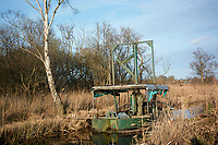 Steam powered reed cutting machine, Bure Marshes, Norfolk