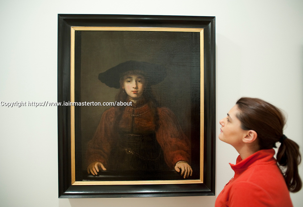 The Girl in a Picture Frame by Rembrandt Harmensz. van Rijn at Statens Museum for Kunst or Royal Museum of Fine Arts in Copenhagen Denmark