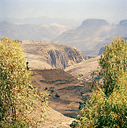 View of the mountains and valleys in the Amhara region, Ethiopia