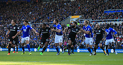 29th October 2017 - Sky Bet EFL Championship - Birmingham City v Aston Villa - Players tussle for space as a cross comes in - Photo: Simon Stacpoole / Offside.