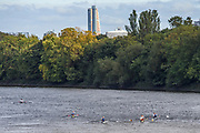 Chiswick, Greater London, UK., 11th October 2020, General View, Pairs Head of the River Race,  looking towards Hammersmith over Corney Reach and Chiswick Mall, Restricted entry and Shortened Course, COVID-19,  Barnes Bridge and Dukes Meadows location, [Mandatory Credit: Peter Spurrier/Intersport Images]