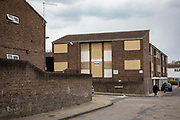 The boarded up and soon to be refurbished Russell House on the 30th of April 2021 in Chatham, Kent, United Kingdom. The former housing shelter for elderly people is set to be refurbished by MHS homes and replaced with accommodation for vulnerable young people.