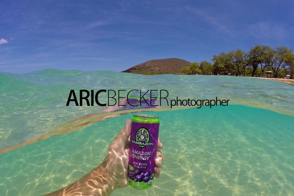 Sambazon's Amazon Energy drink, photographed in Maui