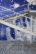 The walls of the Lisbon Oceanarium are decorated in blue, glazed tiles; an homage to the historical azulejos of the area. Lisbon, Portugal
