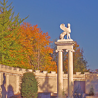 Egyptian figure on top of a column in the fall in Untermyer Park in Westchester County