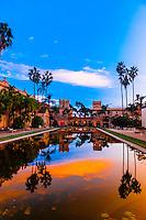 Sunset, Laguna de las Flores, Balboa Park, San Diego, California USA.