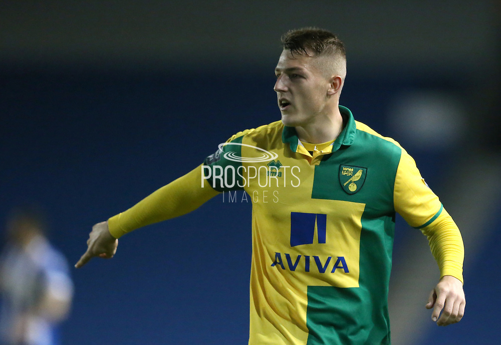 Norwich City's Jamie Eaton-Collins during the Barclays U21 Premier League Cup match between Brighton U21 and U21 Norwich City at the American Express Community Stadium, Brighton and Hove, England on 12 November 2015.