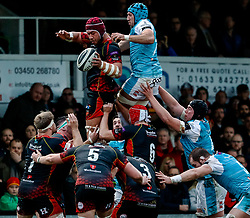 Brandon Nansen of Dragons claims the lineout<br /> <br /> Photographer Simon King/Replay Images<br /> <br /> Guinness PRO14 Round 12 - Dragons v Ospreys - Sunday 30th December 2018 - Rodney Parade - Newport<br /> <br /> World Copyright © Replay Images . All rights reserved. info@replayimages.co.uk - http://replayimages.co.uk