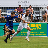 01.08.2020, C-Team Arena, Ravensburg, GER, WFV-Pokal, FV Ravensburg vs SSV Ulm 1846 Fussball, <br /> DFL REGULATIONS PROHIBIT ANY USE OF PHOTOGRAPHS AS IMAGE SEQUENCES AND/OR QUASI-VIDEO, <br /> im Bild Steffen Kienle (Ulm, #23) setzt sich gegen Samuel Boneberger (Ravensburg, #17) durch<br /> <br /> Foto © nordphoto / Hafner
