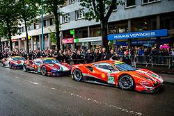 June 11, 2018 - Le Mans, FRANCE - 51 AF CORSE (ITA) FERRARI 488 GTE EVO GTE PRO ALESSANDRO PIER GUIDI (ITA) JAMES CALADO (GBR) DANIEL SERRA (BRA) #52 AF CORSE (ITA) FERRARI 488 GTE EVO GTE PRO TONI VILANDER (FIN) ANTONIO GIOVINAZZI (ITA) LUIS FELIPE DERANI (BRA) #71 AF CORSE (ITA) FERRARI 488 GTE EVO GTE PRO DAVIDE RIGON (ITA) SAM BIRD (GBR) MIGUEL MOLINA  (Credit Image: © Panoramic via ZUMA Press)